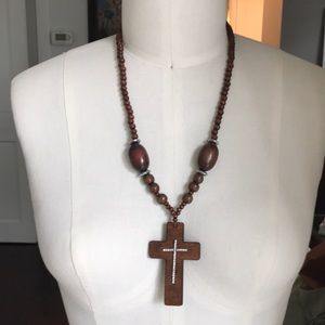 Beautiful Cross- wood and Crystal necklace